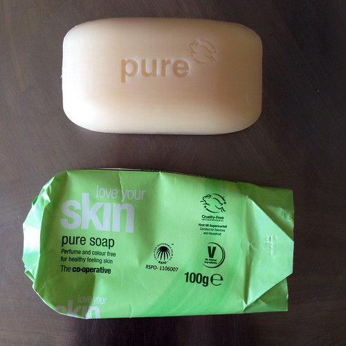 Soap. The Co-Operative.  Love Your Skin. Pure Soap - Perfume and Colour Free.