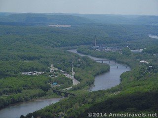 Zoomed in on the old trail bridge and smokestacks from the top of Mount Minsi, Delaware Water Gap National Recreation Area, Pennsylvania