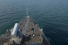 USS Ashland (LSD 48) weighs anchor outside of Kuantan, Malaysia, June 19. (U.S. Navy/MCSN Raymond D. Diaz III)