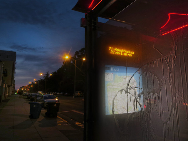71 Muni stop on Lincoln Way; The Sunset, San Francisco (2014)