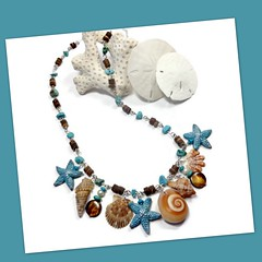 polymer clay Starfish & Florida Shell necklace