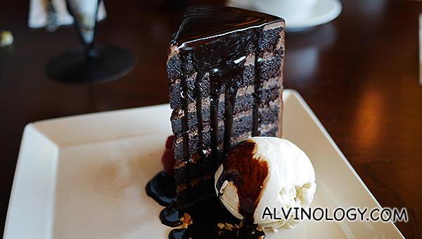 Au Chocolat's signature tower chocolate cake ($18)