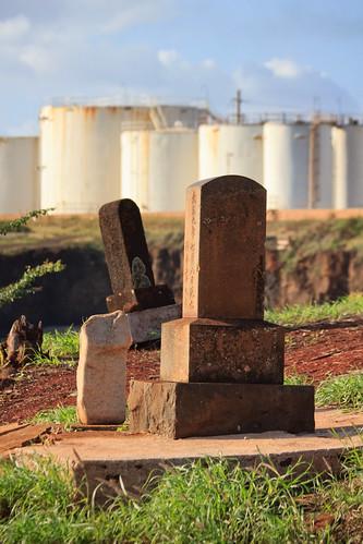 cemetery graveyard japanese hawaii headstones kauai chevron refinery gravestones glassbeach portallen eleele