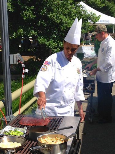 Representing the U.S. Army in our BBQ Battle, Chef Sergeant Monique Sorrell was the winner of competition.  She served cocoa-rubbed flank steak, mint-infused couscous and fresh asparagus from the USDA Farmers Market.  USDA photo by Shayla Mae Bailey.