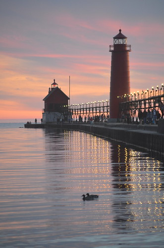 sunset sun lighthouse reflection nature landscape nikon michigan great lakes ducks amateur scenicmichigan glap d5100