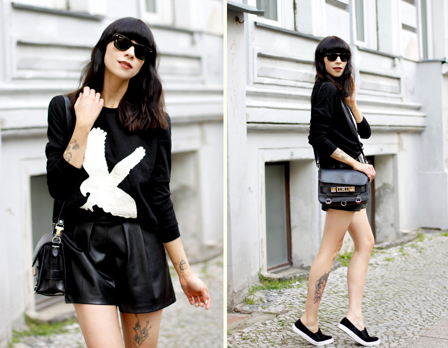 black and white summer eagle sweatshirt sojeans leather shorts velvet slippers asos zara proenza schouler ps11 fashionblogger outfit ootd rayban CATTS & DOGS berlin Ricarda Schernus 5