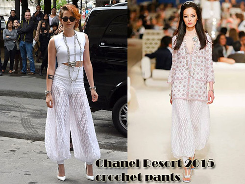 Harem trousers trend:  Kristen Stewart in Chanel Resort 2015 crochet pants
