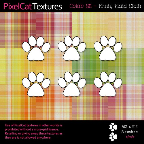 PixelCat Textures - Colab 101 - Fruity Plaid Cloth
