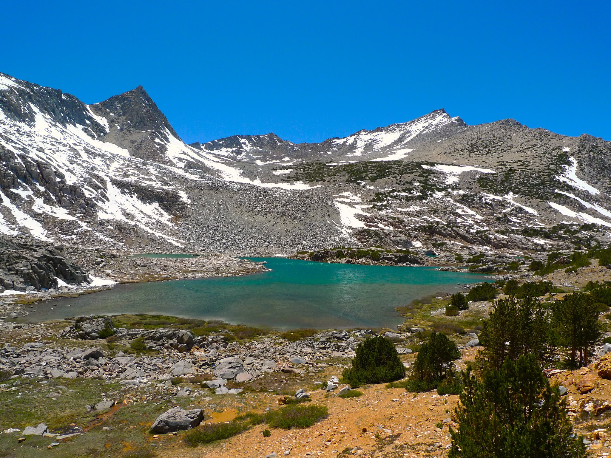 Bishop Lake is colored by glacial sediment