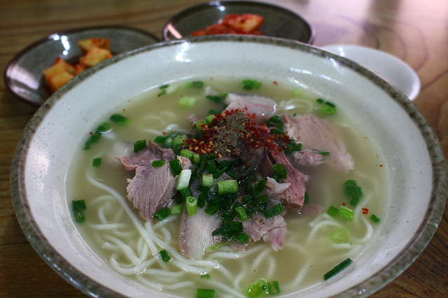 Black pork noodle soup
