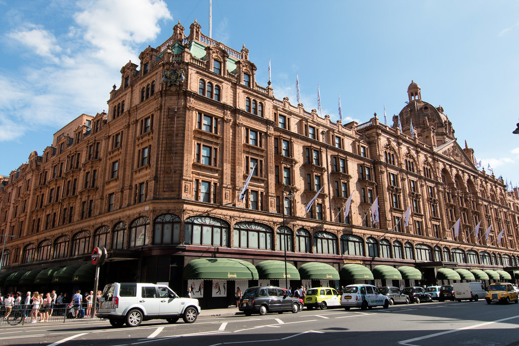 Harrods is an upmarket department store located in Brompton Road in Knightsbridge, in the Royal Borough of Kensington and Chelsea, London.