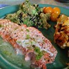Wild Alaskan Salmon in lime-butter sauce, Roasted Califlower, Quinoa salad, yellow cherry tomatoes. #organic #local #noms