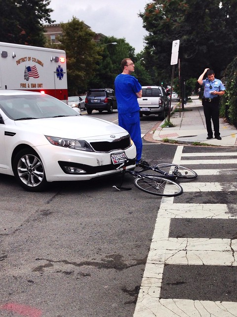 Cyclist hit by MD driver at 13th and Wallach NW #bikedc