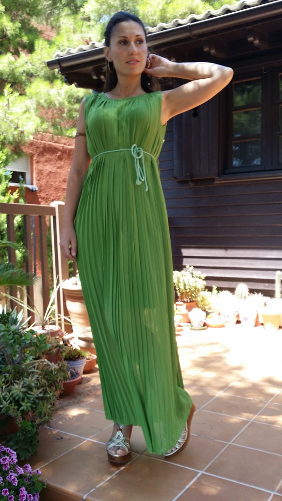 maxi dresses, griego, verde hoja, dorado, plisado, cuñas doradas de madera, Greek, green leaf, golden, pleated, golden wooden wedges, Aliexpress, Bimba & Lola, Lowlita & You