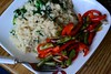 Roasted Green Beans & Peppers and Rice with Spinach (Vegan)