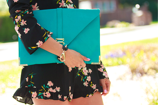 Pins and Needles Urban Outfitters floral romper, ShoeMint Francoise booties, ASOS turquoise envelope clutch, Aritzia Wilfred belt, fashion, style, spring, HRH Collection Luxe Hardware Cuff bracelet