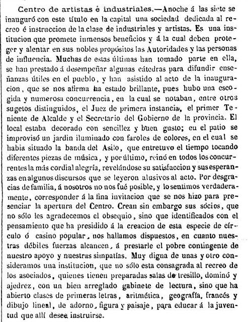 Noticia de la Inauguración del Centro de Artistas e Industriales de Toledo. El Tajo, 20 marzo de 1866