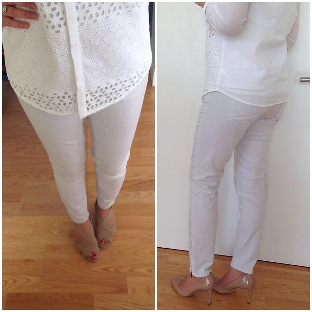 LOFT Modern Skinny Ankle Zip Jeans in Grey Pinstripe