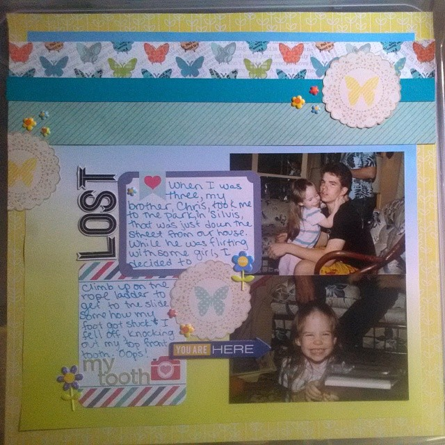 LOAD514- Scrapbooking layout about losing my tooth as a kid