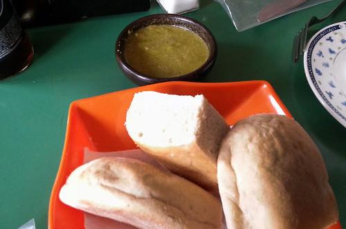 bread with pebre dip