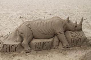 Stop rhino poaching sandcastle, Durban
