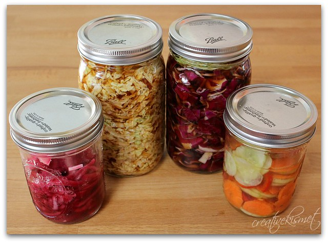 pickled veggies and raw sauerkraut