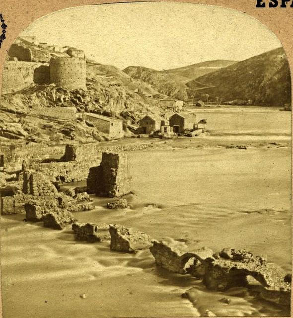 Torre de Alfarach y Molinos de Daicán fotografiados en 1857 por Eugène Sevaistre (c) Colección Luis Alba, Ayuntamiento de Toledo