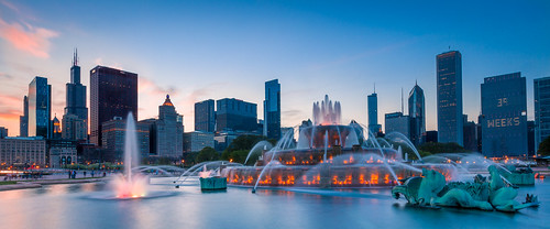 park longexposure sunset chicago fountain skyline cityscape
