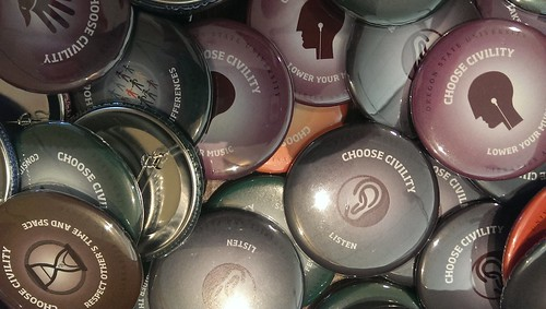 round buttons with the slogan Choose Civility