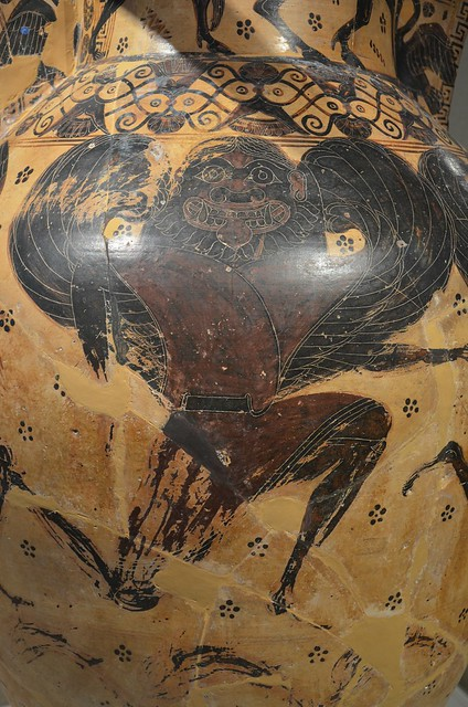 Attic black-figure funerary amphora depicting the myth of Perseus / Medusa, the Gorgon' sisters Stheno & Euryale fly above the sea in pursuit of Perseus, from a tomb in Athens, by the Nessos painter, 620-610 BC, National Archaeological Museum of Athens
