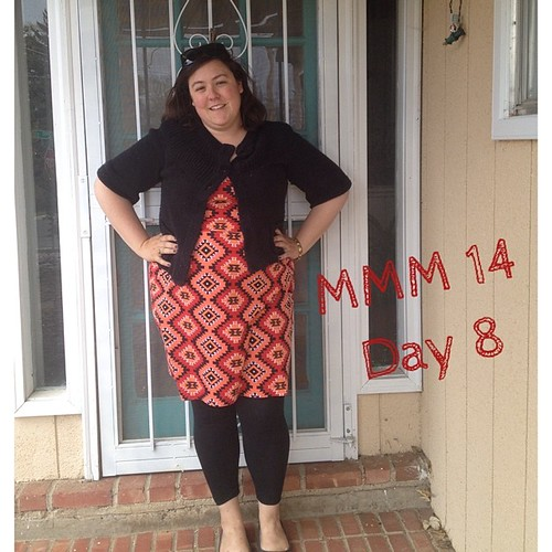 #mmmay14 #memademay day 8! Me made dress (hacked/self drafted) and leggings. Apparently this is the week of crazy patterned dresses! Should be one more for tomorrow...