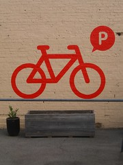 Bicycle parking sign, The Charles St Pantry, lane off Charles Street, Launceston