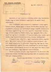 VII/4. Az Egri Izraelita Hitközség kérése Eger megyei város képviselőtestületéhez a háborúban megrongálódott izraelita templom helyreállítására. A képviselőtestület az újjáépítésre 25000 pengő támogatást állapít meg. HML_8.3.2_01