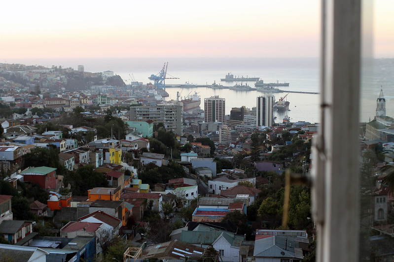view of valparaiso from a window in La Sebastiana
