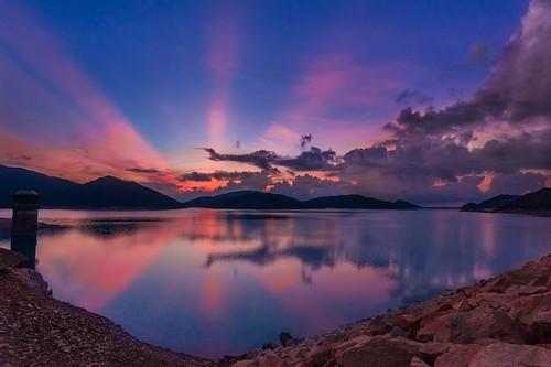 lake nature sunrise landscape nikon day cloudy d700