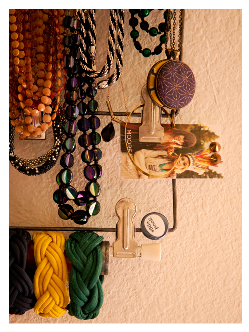 Detail of Vintage Skirt Hanger Used for Displaying Jewelry