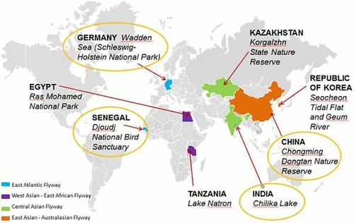 地圖顯示目的地航道計畫的8個重點地點。(來源:UNWTO。)