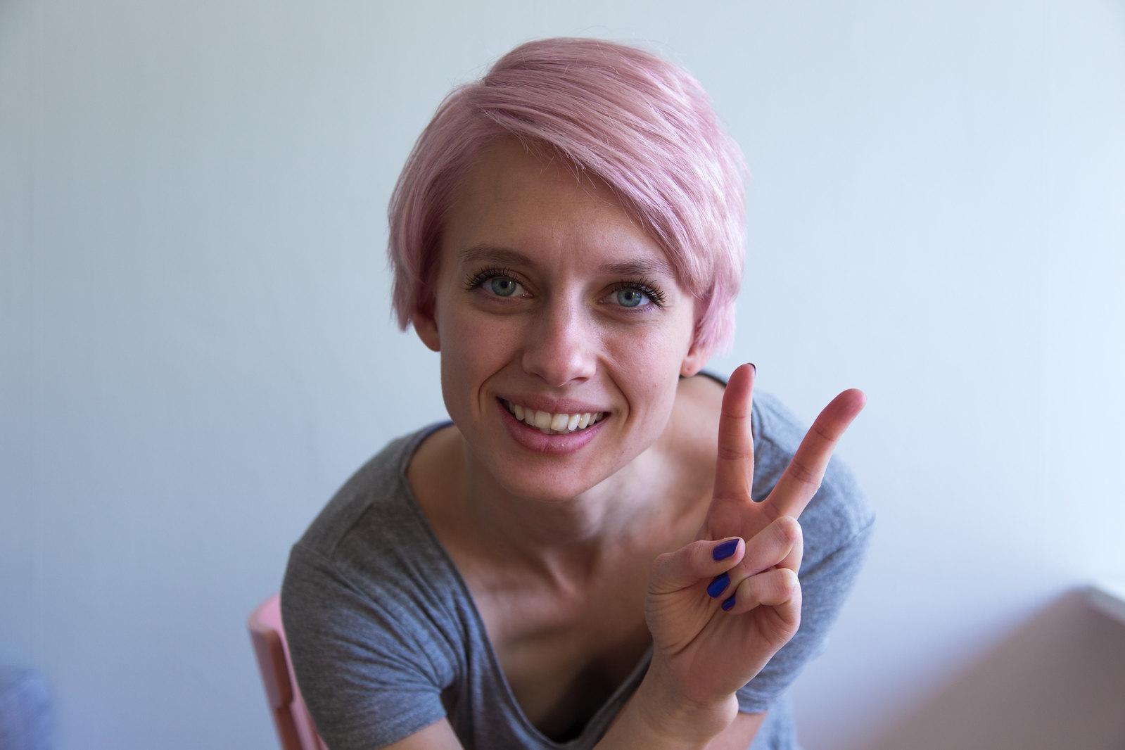 Pastel pinkish hair