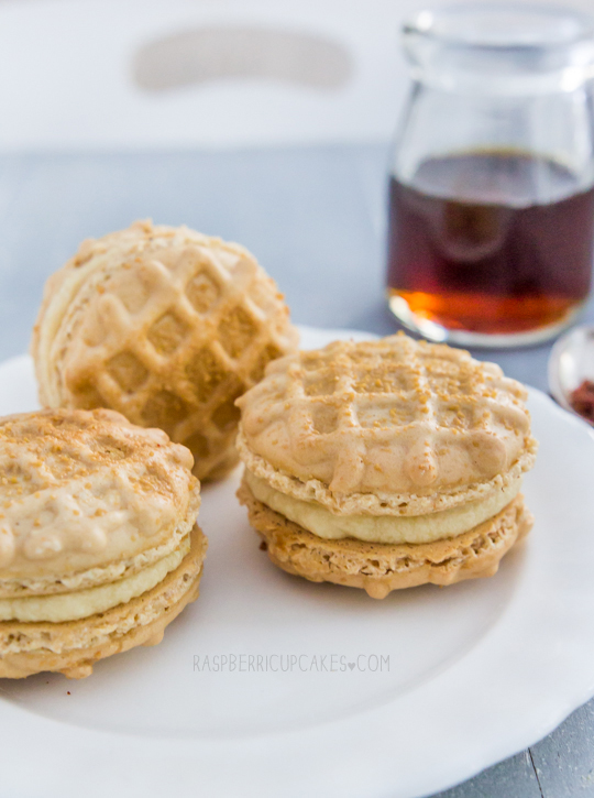 Waffle Macarons with Maple Bacon Buttercream
