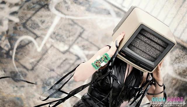 Roxana - May 2014 #anthshortphoto #retro #vintage #cyber #vinyl #pvc #tvhead #telehead #television #modelling #southshields #photography #tv #alternative #gothic #black #tape #vhs #video #phono #wire #circuitboard #heels