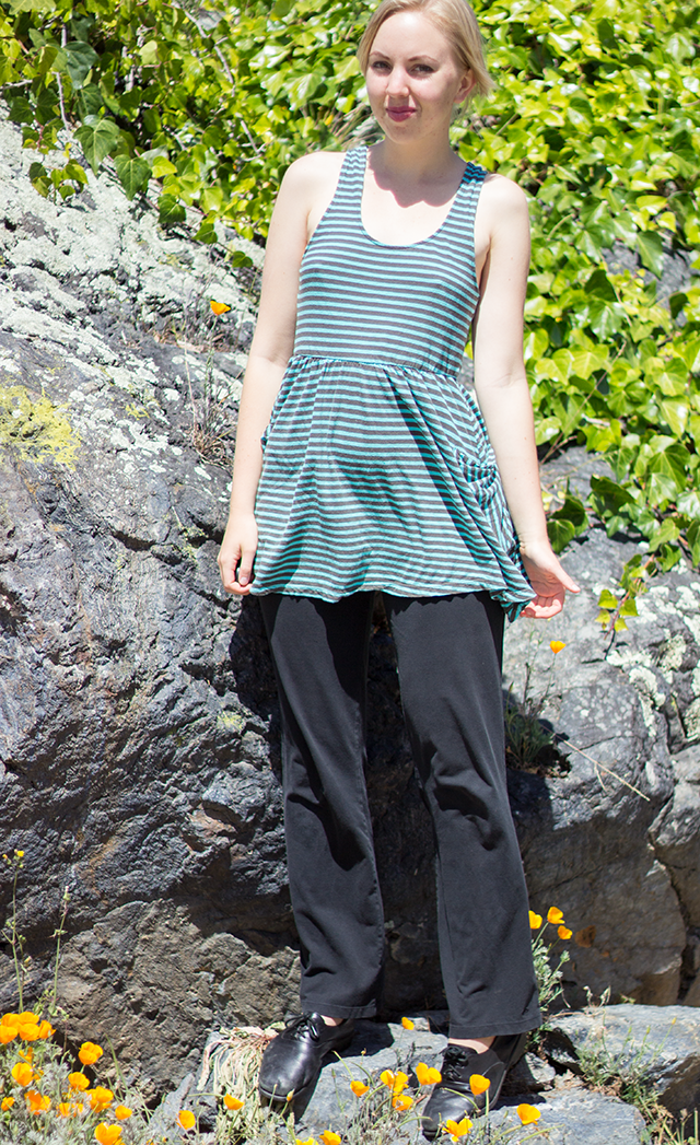 striped spearmint tank top, loose yoga pants, California poppies