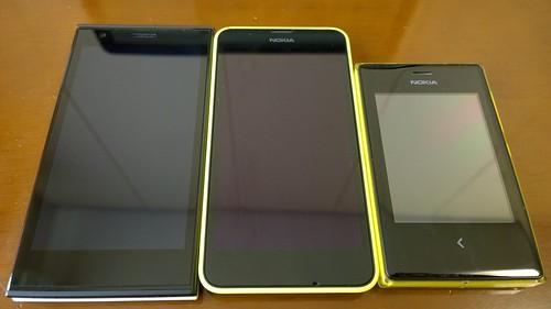 Lumia 630大きさ比較(jolla, Lumia 630, Asha 503)
