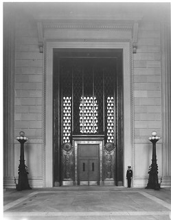 Photograph of the National Archives Building Constitution Avenue Entrance with Bronze Doors Open, 06/13/1936