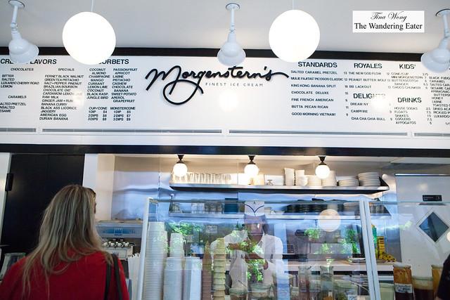 Menu board at Morgenstern's Finest Ice Cream
