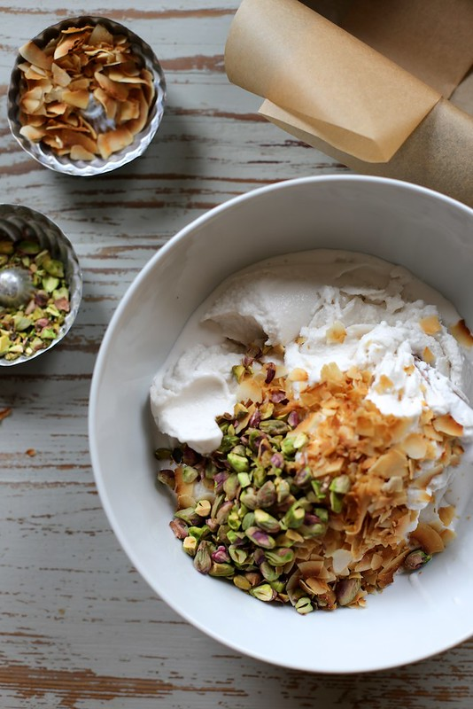 Vegan Toasted Coconut and Pistachio Ice Cream