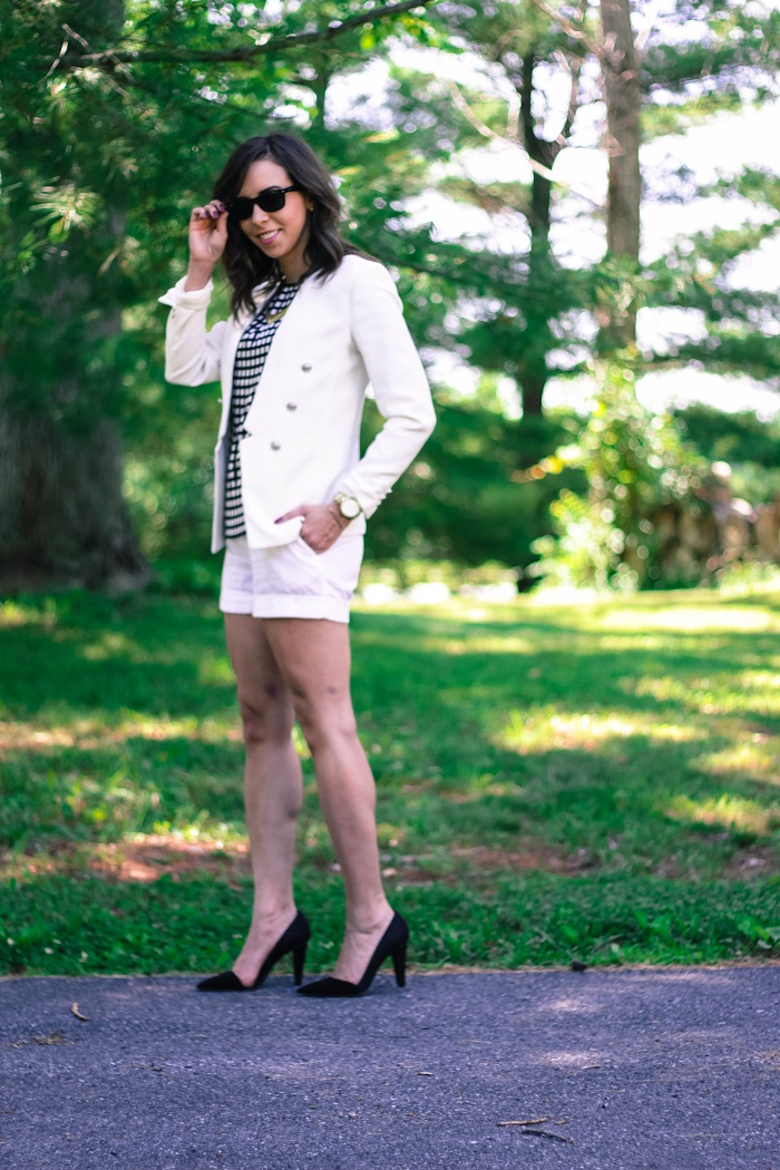 va darling. dc blogger. virginia personal style blogger. white short suit. white blazer. white shorts. rebecca minkoff heels. windowpane top. 5