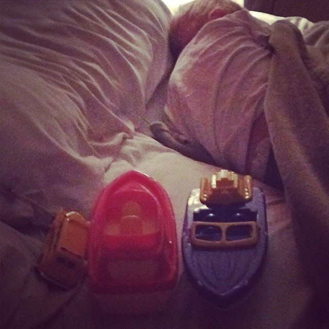 A bus and two boats and a sleeping Grayson #ineedabiggerbed
