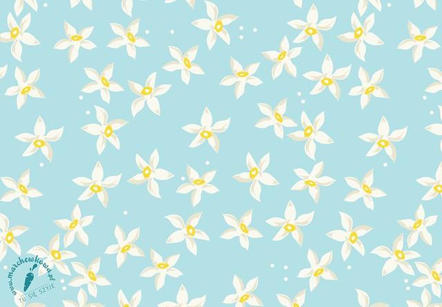 Orange flowers, print design by marchewkowa.pl, nadruk, wzór, fabric