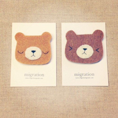 Couple of new kids on the pudgy bear block. #handmade #migrationgoods #bear #brooch