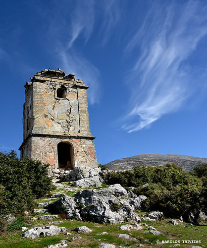 clouds ruins rocks stones belltower steeple greece monastery virginmary bushes cephalonia kefaloniaisland dilinata